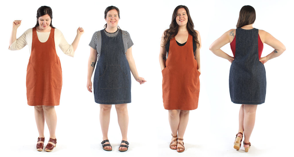 The York Pinafore, front and back of both pattern views. This pattern is easy to fit and a great option for beginner sewing patterns.