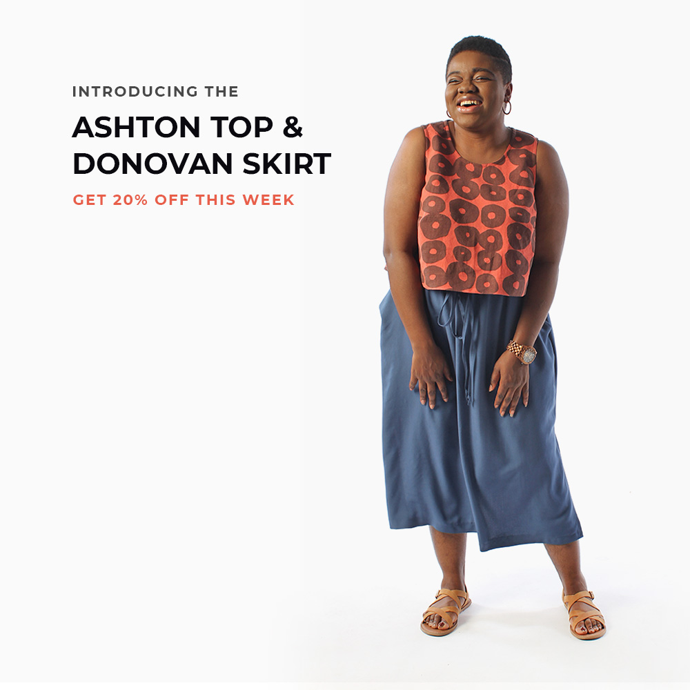 Introducing the Ashton Top and Donovan Skirt, beginner sewing patterns from Helen's Closet.
