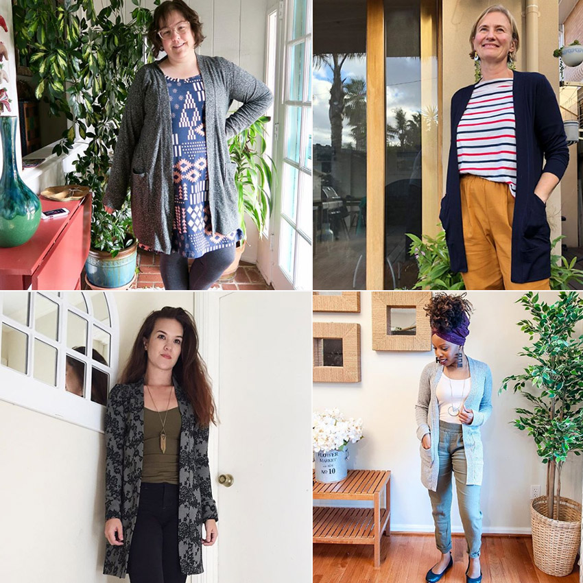 The Blackwood Cardigan sewn by different makers. Blackwood is a knit fabric cardigan pattern.