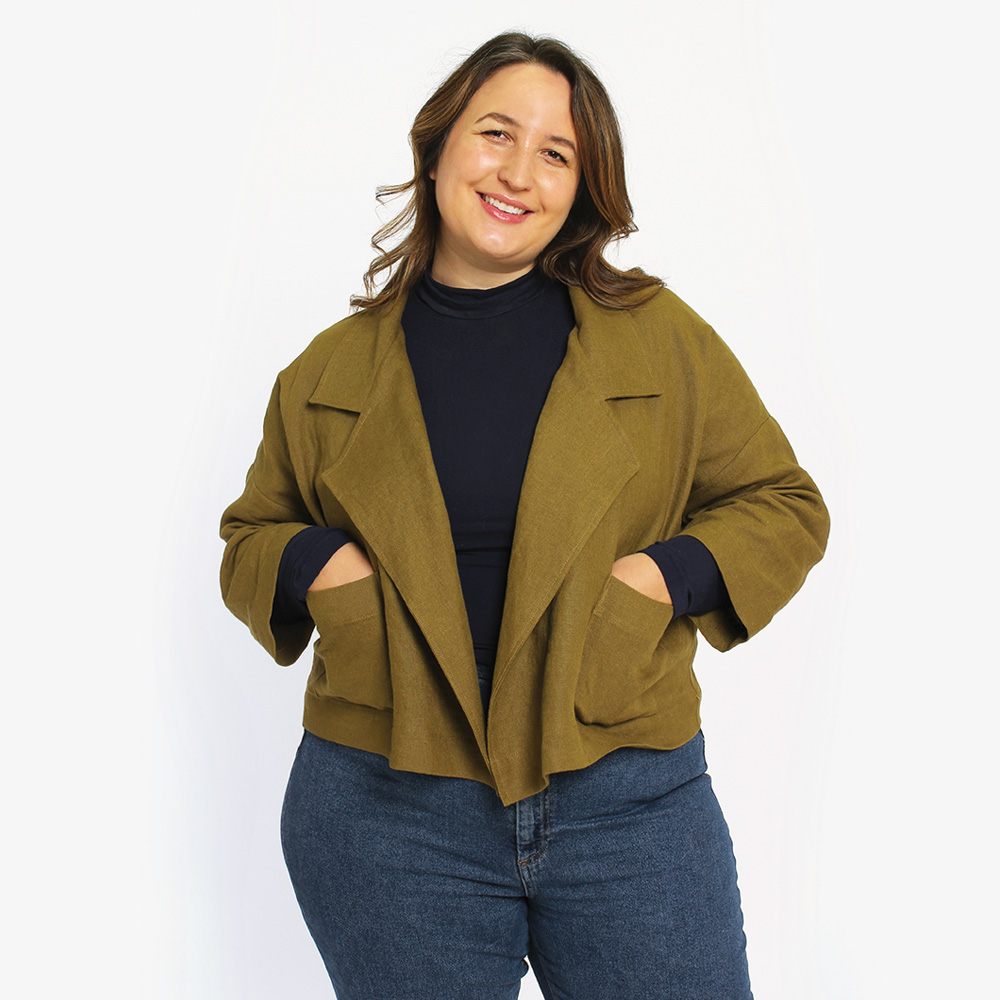 Pona Jacket, a curvy and plus size sewing pattern.
