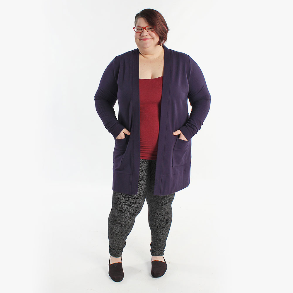 Blackwood Cardigan, a curvy and plus size sewing pattern.