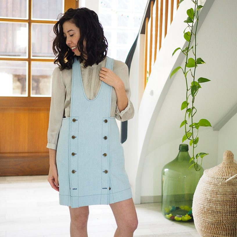 Nautical York Pinafore Hack in Denim by Saki Jane