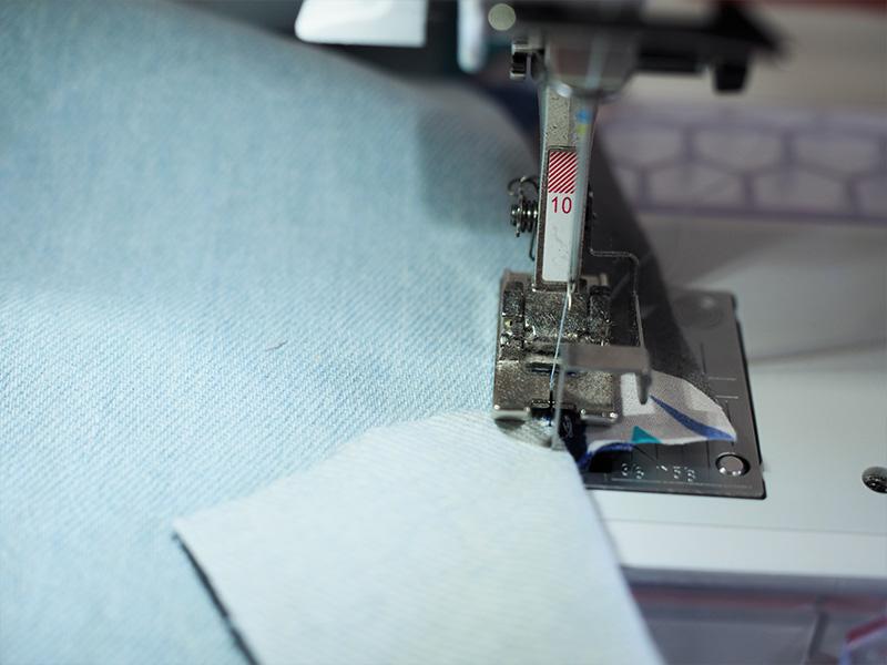 Close up, sewing the facing.