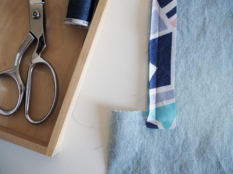 Bias binding first seam close up.