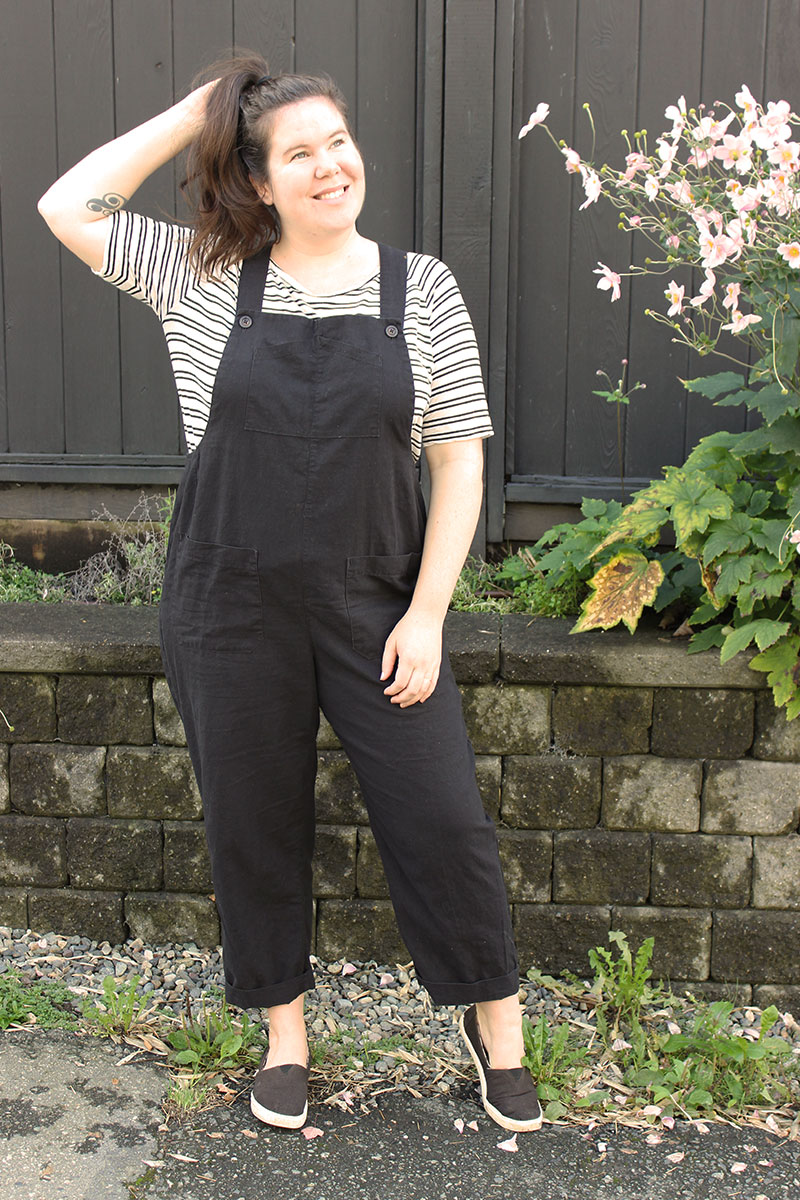 Classic Black Yanta Overalls Sewing Pattern by Helen's Closet