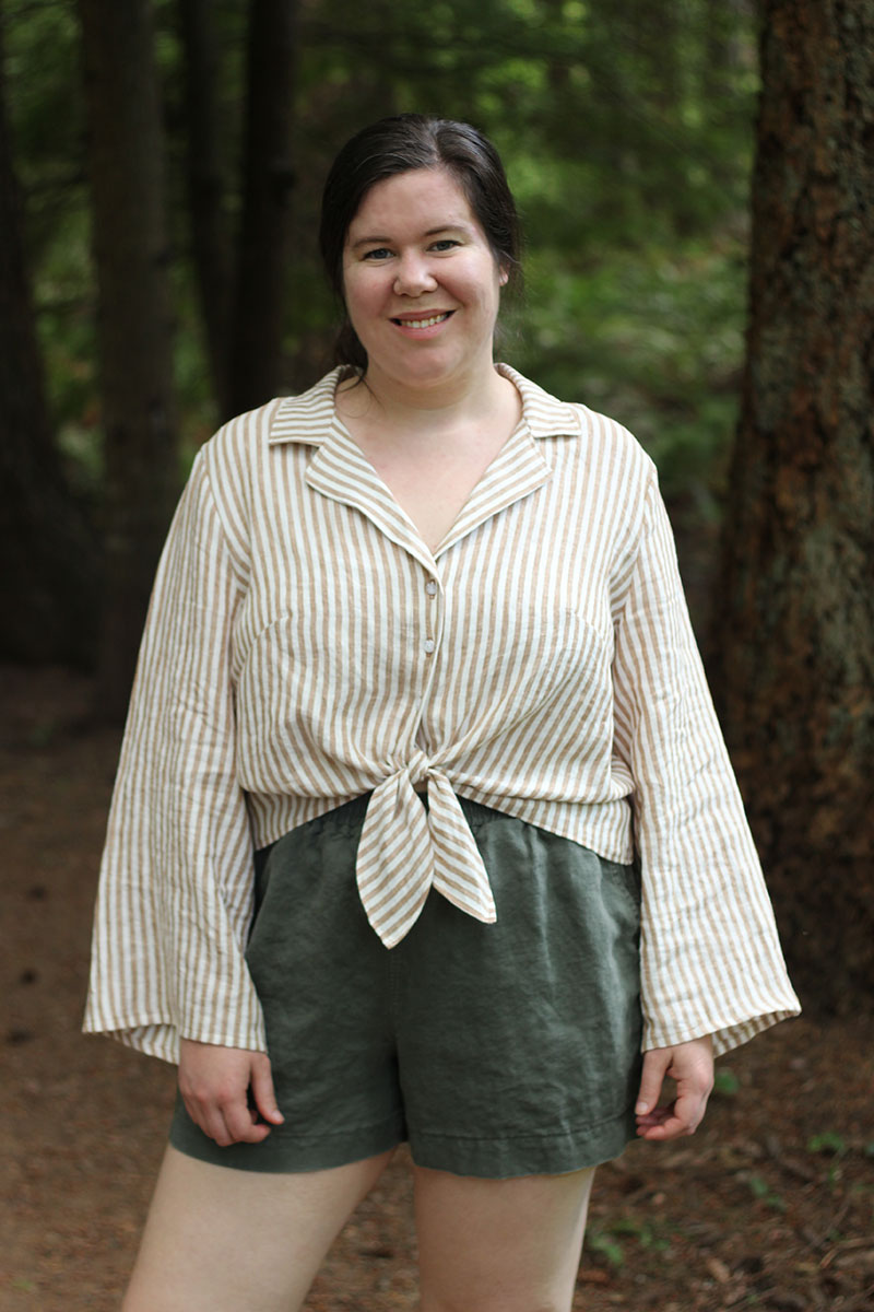 Gilbert Top long sleeves with tie front
