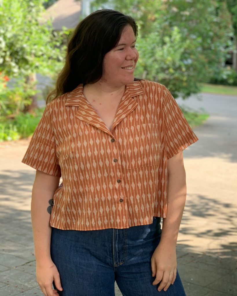 Cropped shirt pattern. Gilbert Top with No Front Tie