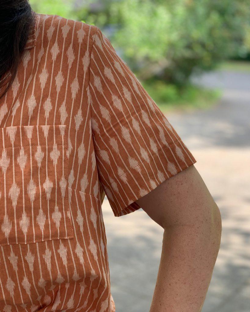 Gilbert Top with deepened sleeve hem, close up.