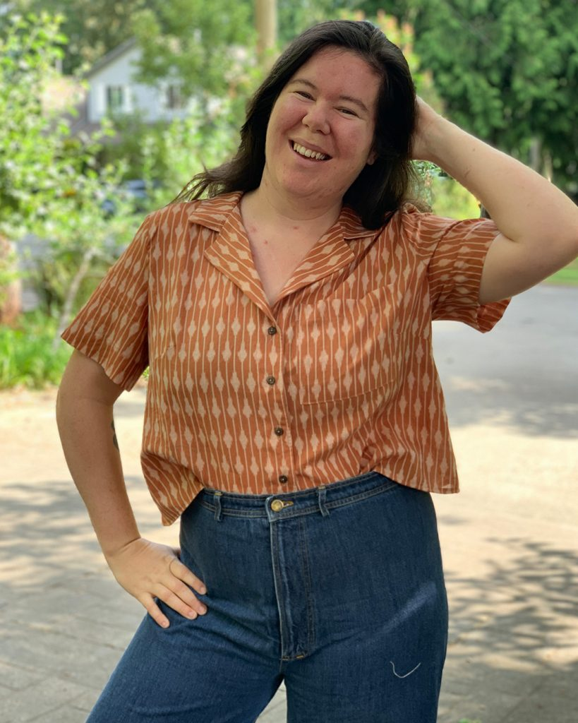 Tucked in cropped shirt. Gilbert Top sewing pattern from Helen's Closet.