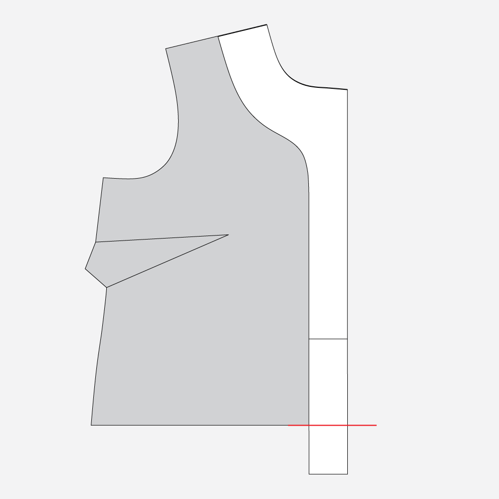 Technical illustration, how to lengthen the Gilbert Top facing.
