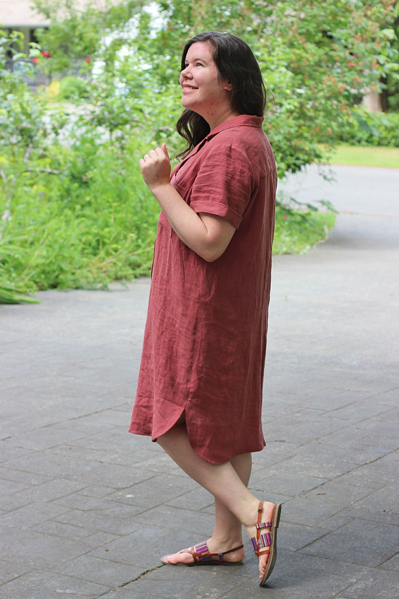 Side view of the Gilbert Top pattern as a shirtdress.