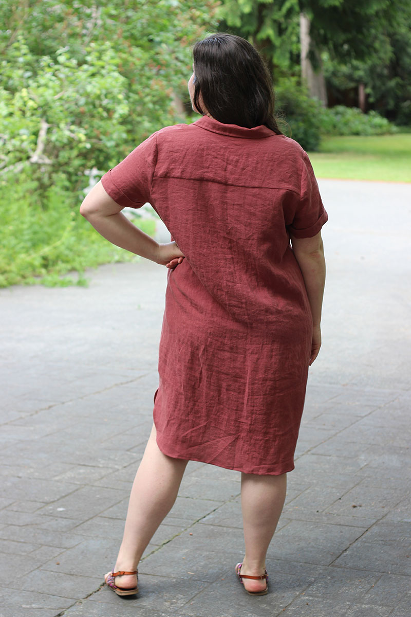 Back view of the Gilbert shirtdress pattern hack.