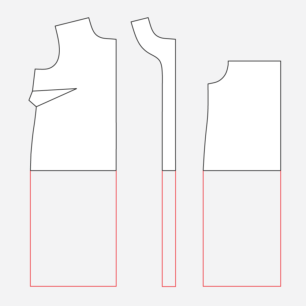 Technical illustration: lengthen the Gilbert Dress.