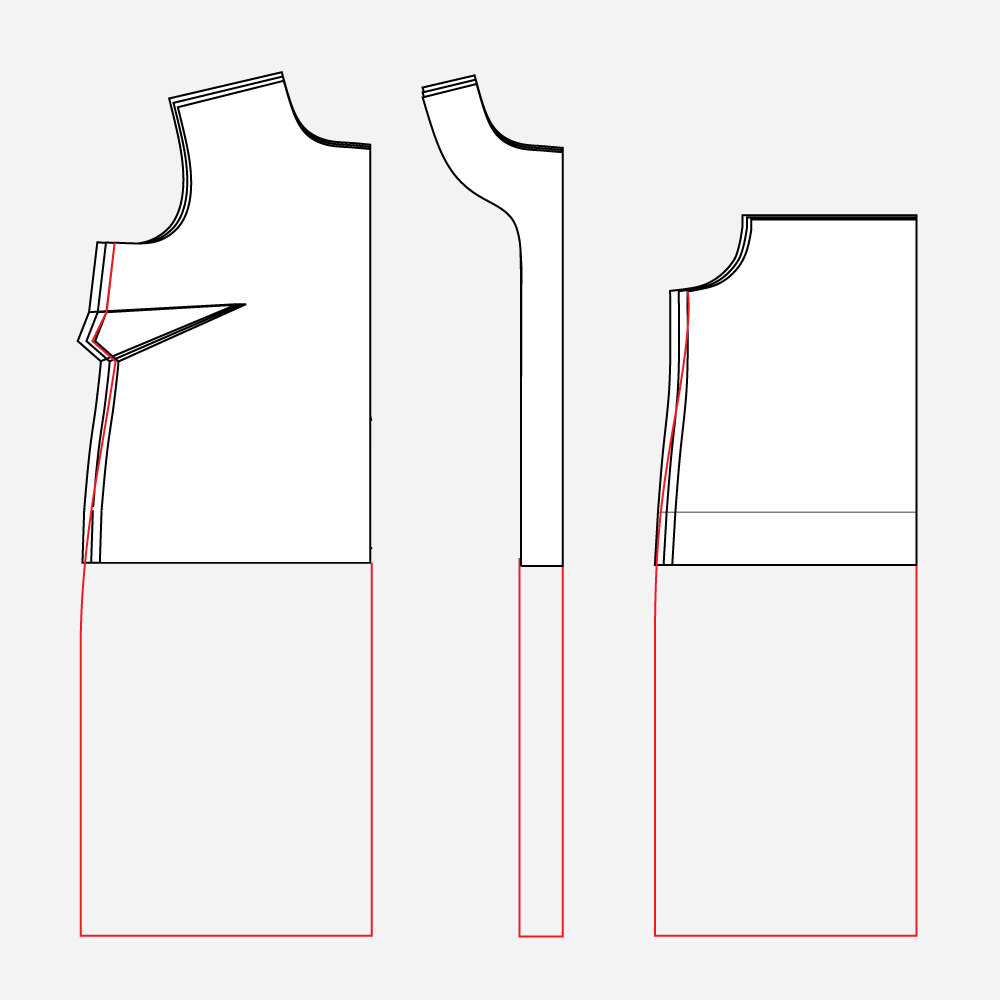 Technical illustration: how to grade between sizes on the Gilbert Dress Hack.