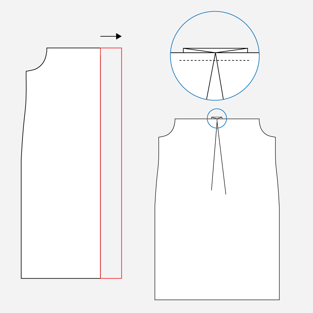 Technical illustration: how to add a back pleat to the Gilbert Top dress hack.