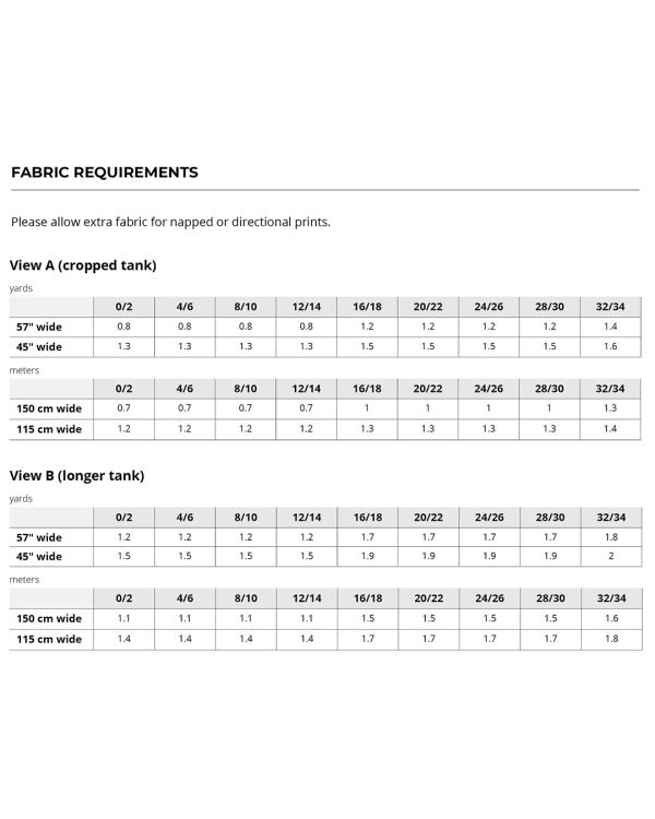 Luna Tank Fabric Requirements