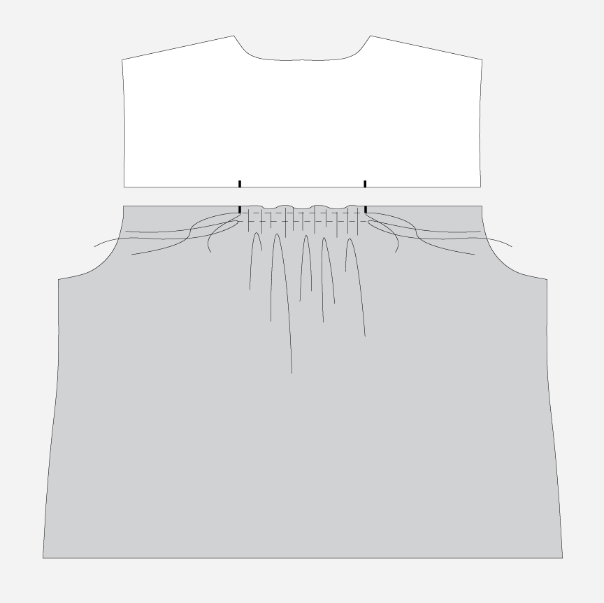 Technical illustration of how to gather a shirt back before attached it to the yoke.
