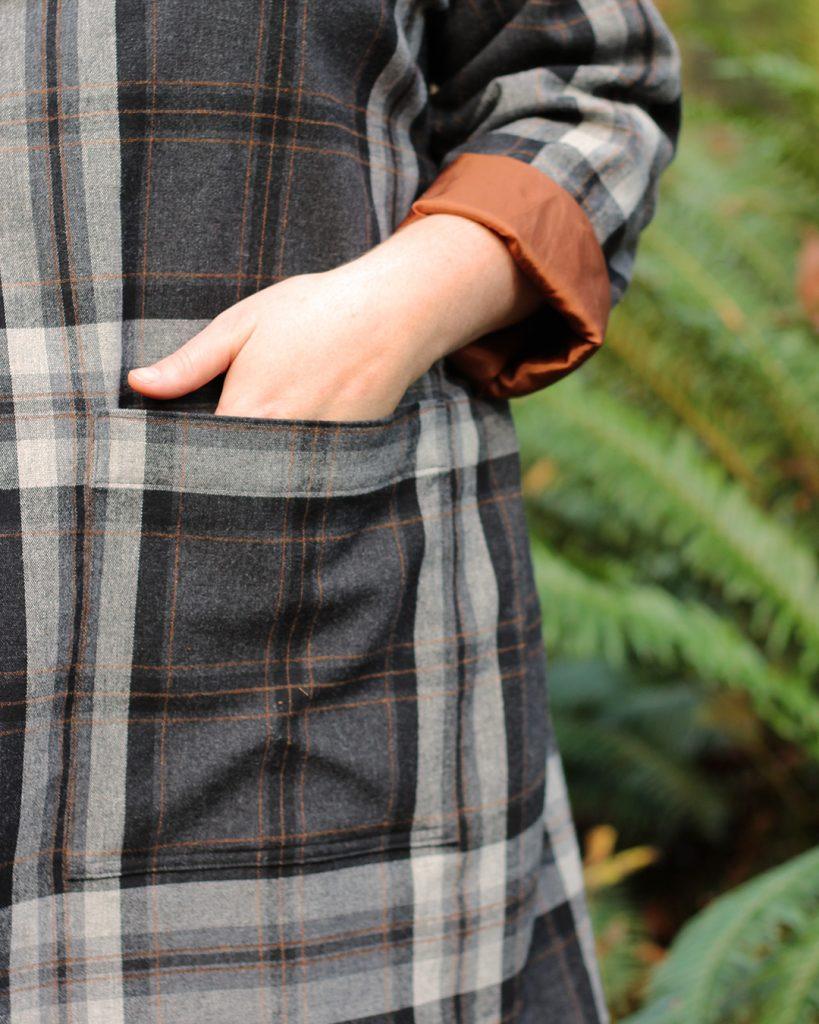 Close up of Pona Jacket patch pockets.
