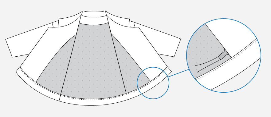 Technical illustration of the jacket hem.