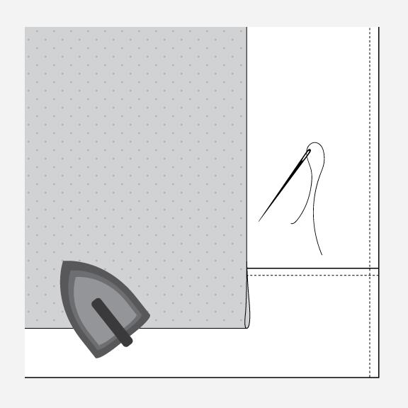 Technical illustration of the jacket lining hem.