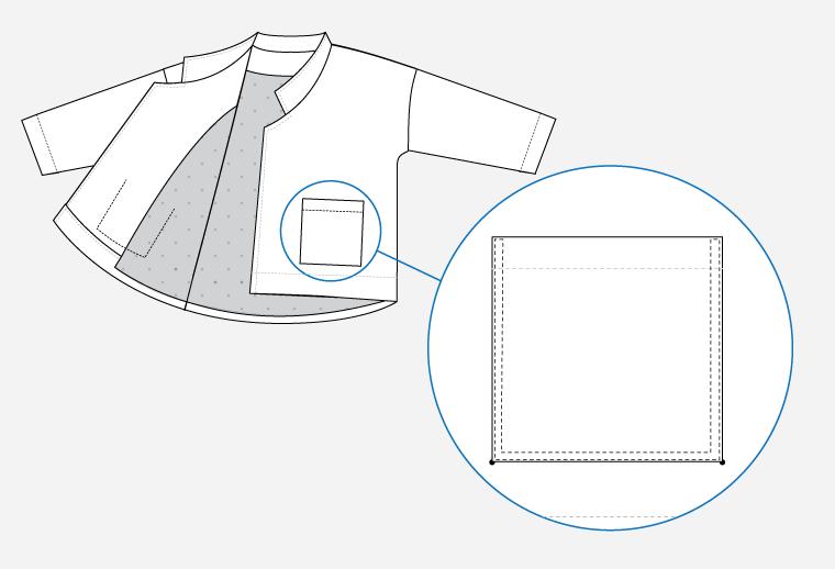Technical illustration of Pona Jacket patch pockets.