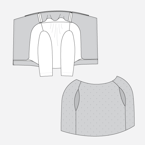 Technical illustration of how to pin the lining to the jacket.