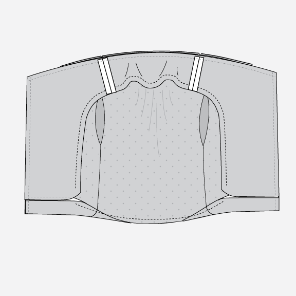 Technical illustration of Pona jacketing facing with lining.