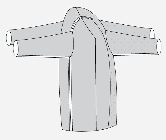 Technical illustration of the outer and lining jacket, prior to bagging.