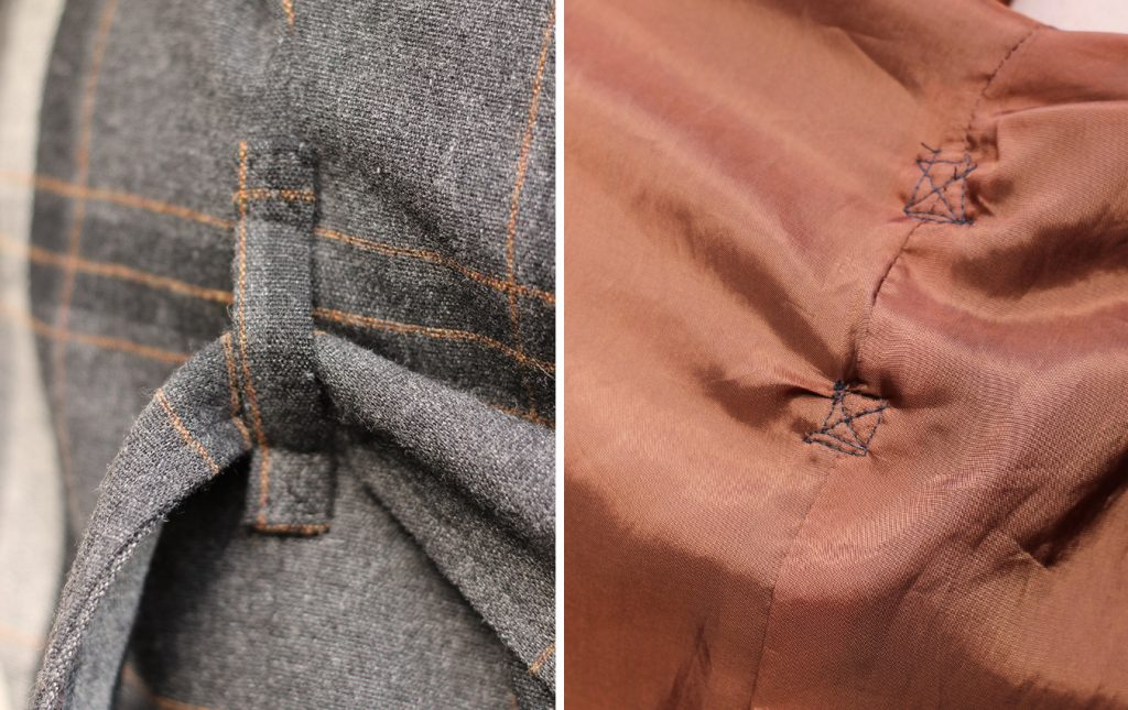 The belt loops are sewing through the outer and lining fabric, but you can sew them just to the outer fabric if you prefer.