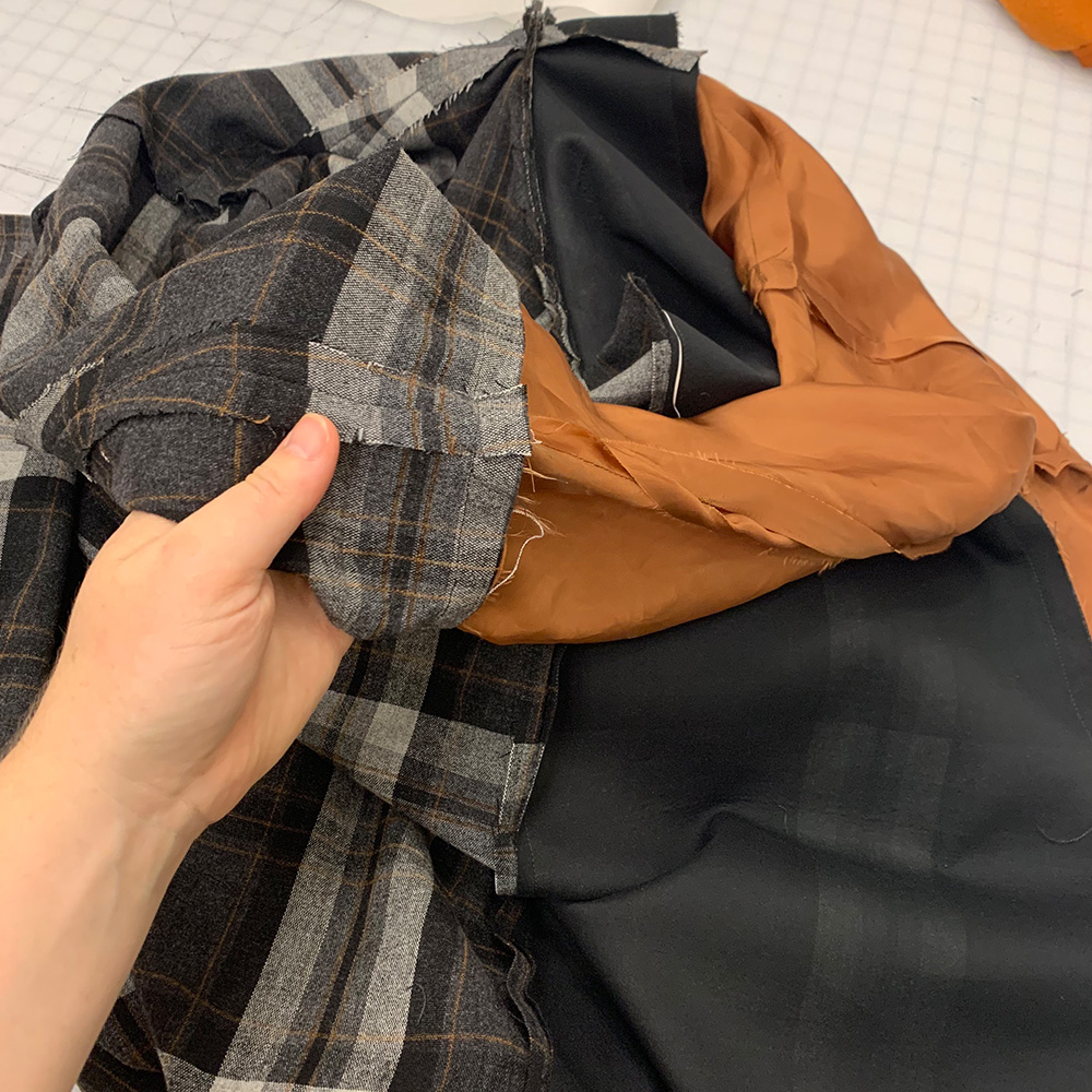 The outer fabric and lining, before bagging.