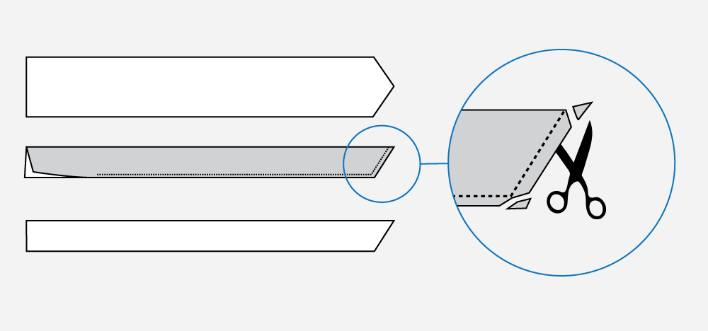 Technical illustration of how to sew a belt.