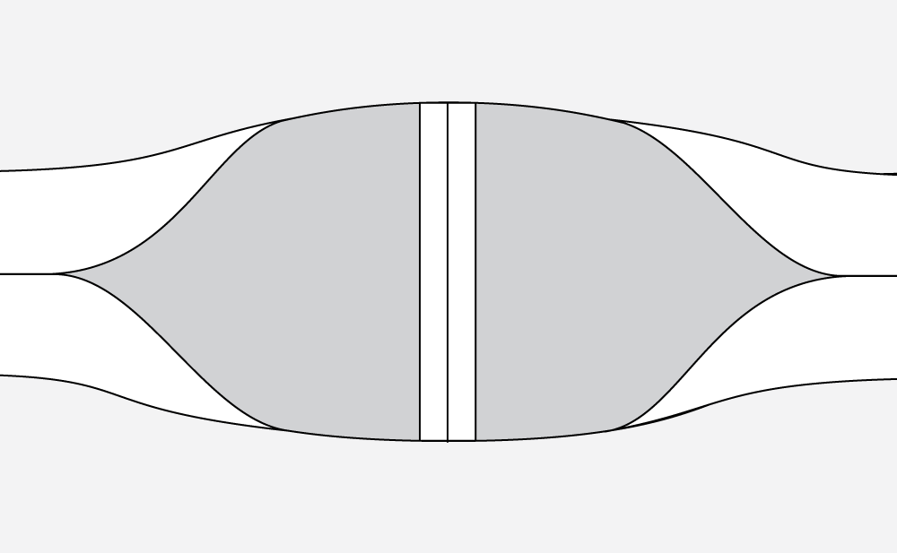 Technical illustration of a waist tie prior to being sewn shut.