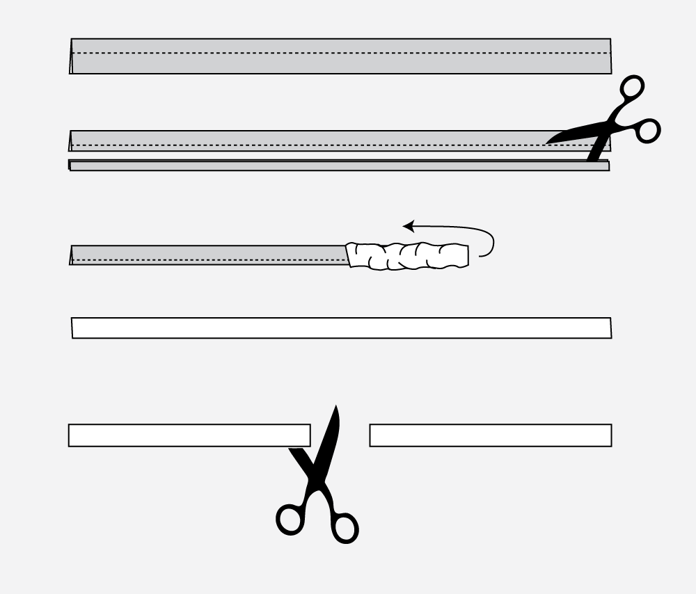 Technical illustration of how to sew belt loops.
