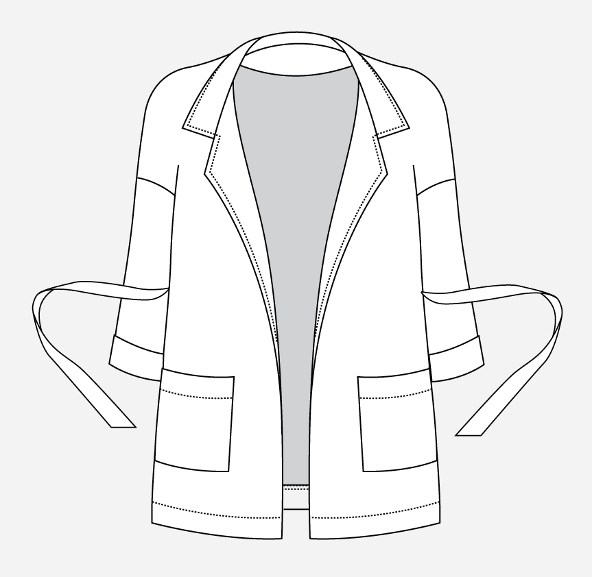 Technical illustration of the Pona Jacket with a waist tie.