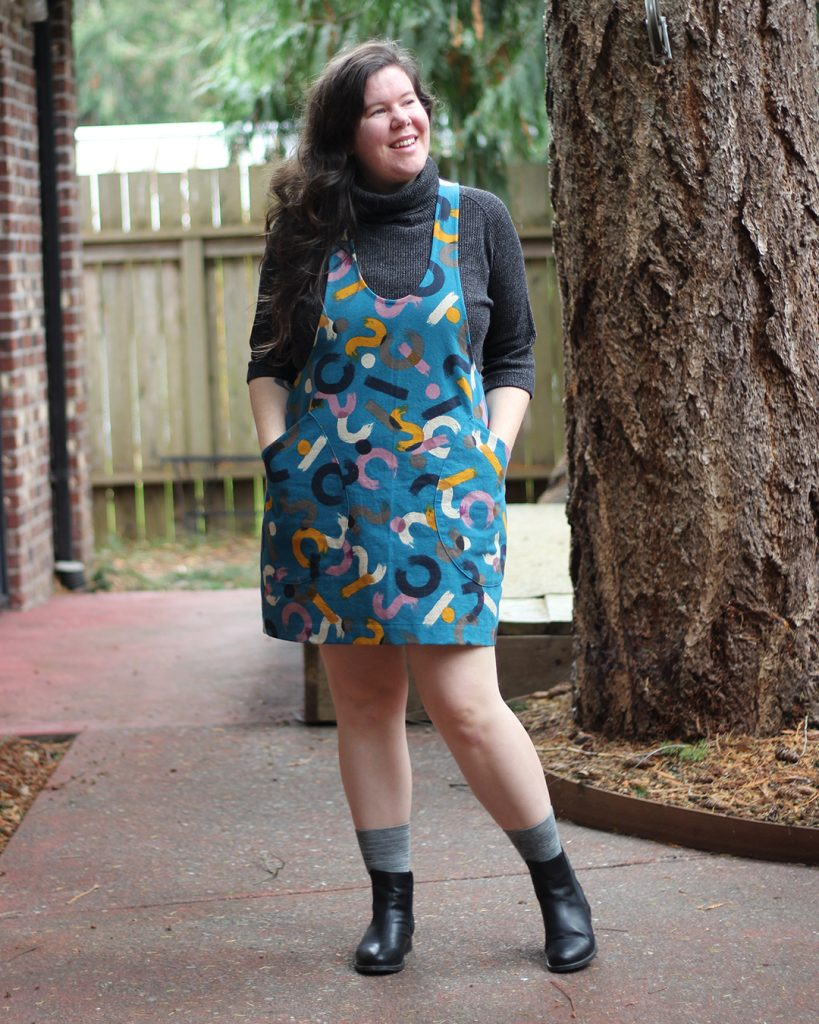 The York is an easy pinafore pattern.