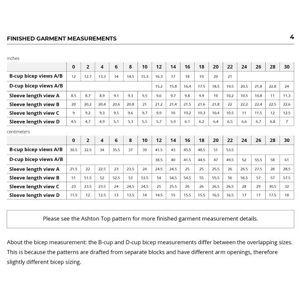 Ashton Sleeves Expansion Pack Finished Garment Measurements
