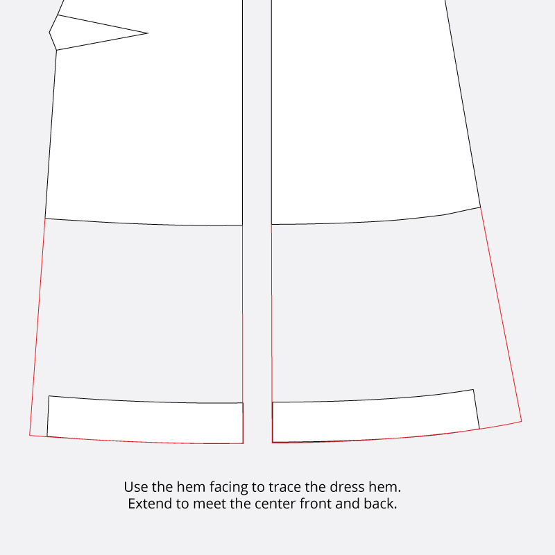 Technical illustration to demonstrate how to trace a new dress hem using the original hem facings.