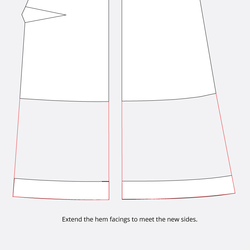 Technical illustration to demonstrate how to extend the hem facings.