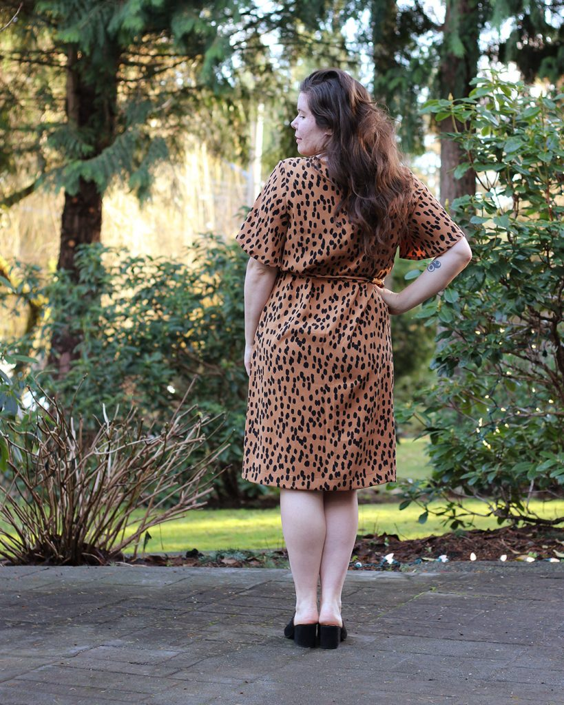 Ashton Top Butterfly Sleeve Dress Hack in Leopard Print Tencel Twill