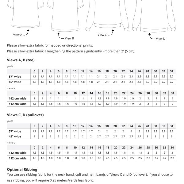 Jackson Tee and Pullover Fabric Requirements