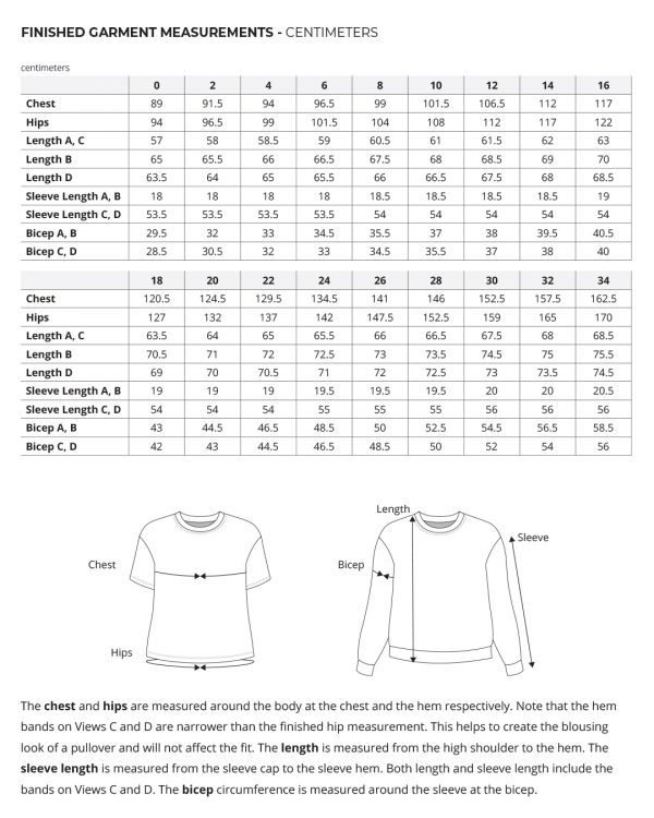 Jackson Tee and Pullover finished garment measurements