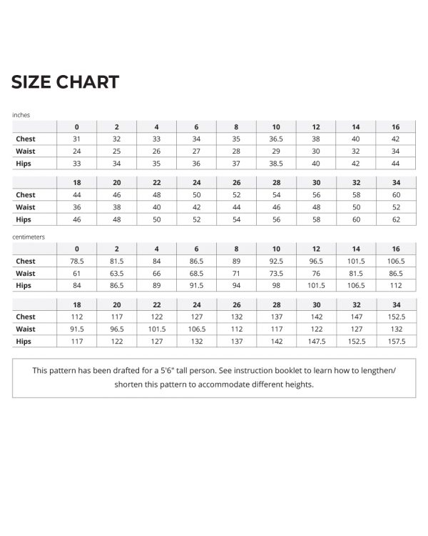 Jackson Tee and Pullover size chart