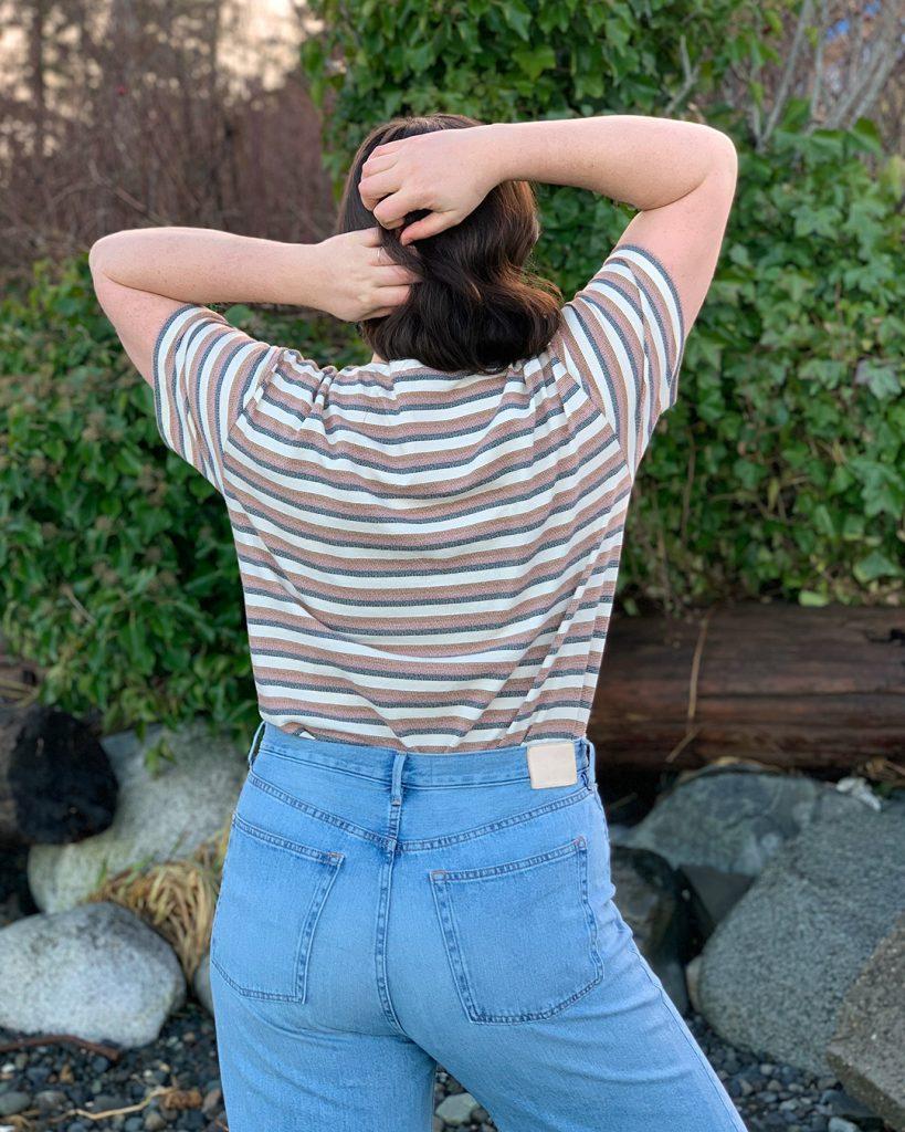 Gender neutral t shirt pattern, back view.