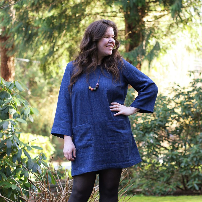 Ashton Dress Hack with Long Sleeves in Hemp Denim