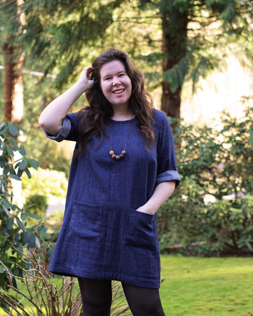 Denim Ashton dress hack featuring sleeve expansion and cuffed elbows.