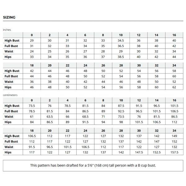 York Pinafore Size Chart