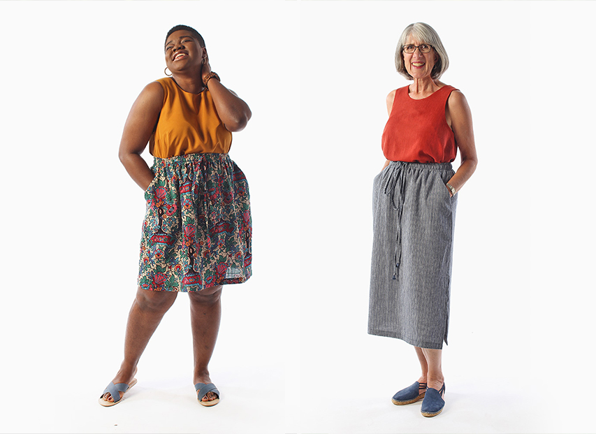 The Ashton top paired with the Donovan Skirt, shown in both views. Donovan can be made in sturdy woven fibers, and includes a fully photographed sewalong! It's a perfect beginner sewing pattern.