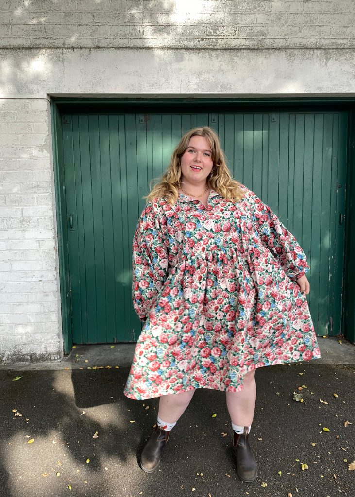 March top and dress as sewn by Katie. March is a vintage inspired dress sewing pattern.