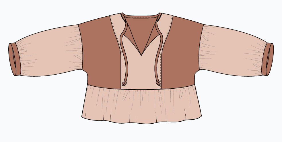 March Top Design Idea: contrasting center panel, sleeves, and peplum.