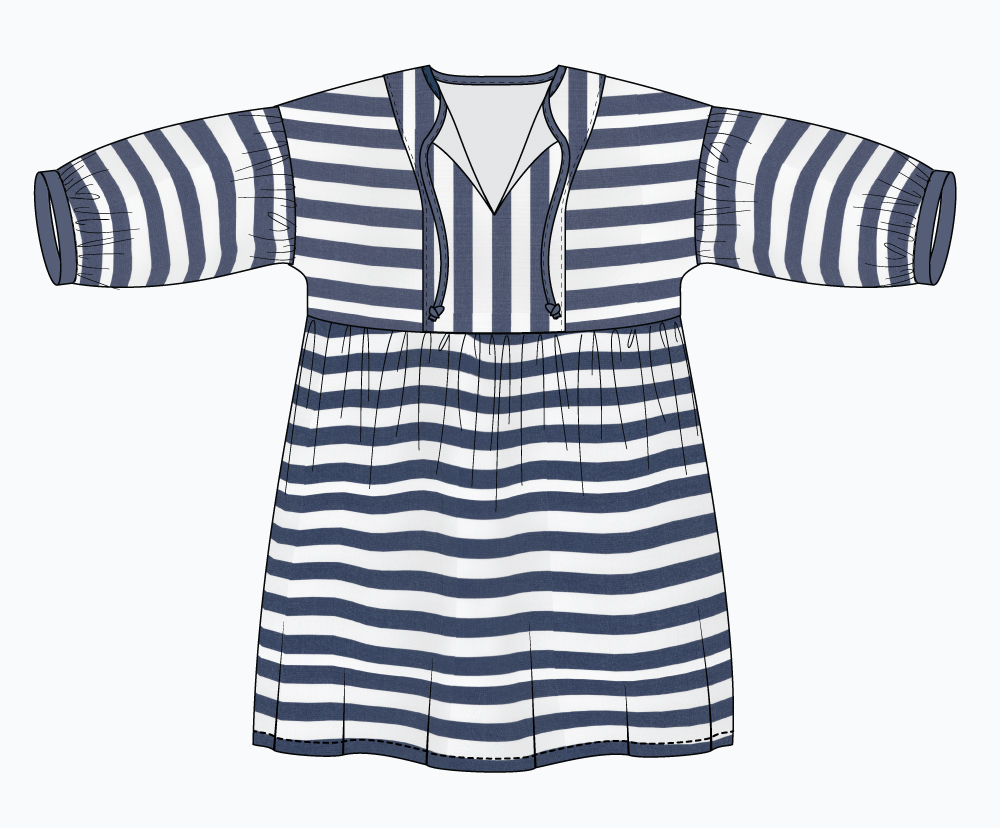 March Dress Design Idea: vertical stripe center panel and sleeves.